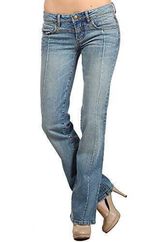 [11 13 15 17 19 21 5 7 9 Juniors Teen Small Medium Large XL Jeans Denim Low Rise Boot Cut Light Blue Size 7] (7 Bootcut Low Rise Jeans)