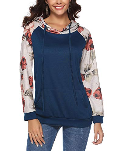 iClosam Women Sweatshirt Casual Cowl Neck Floral Print Long Sleeve Drawstring Tunic Tops (X-Large, -