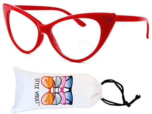 WM516-vp Style Vault Cateye Clear Lens Eyeglasses (S3298V Red-Clear, - 70s Eyeglasses