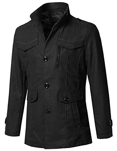 (Style by William Classic Tweed Pattern Mock Neck Detachable Belt Coat Black L)