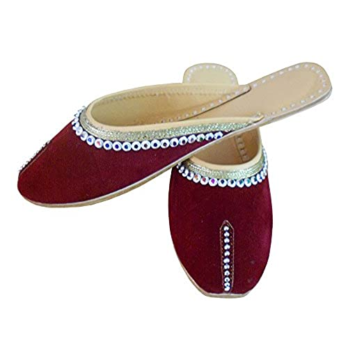 687d97f4a928 85%OFF Kalra Creations Women s Traditional Indian Slippers Velvet With Sequence  Work Ethnic Flats