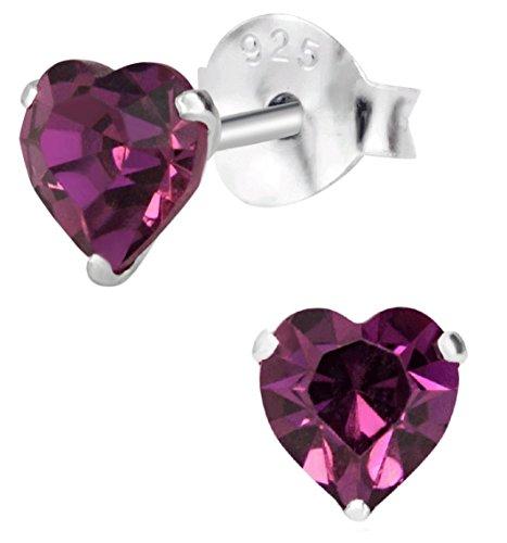 Hypoallergenic Sterling Silver Purple Crystal Heart Stud Earrings for Kids (Nickel Free)