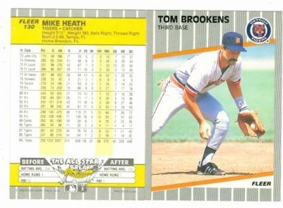 Tom Brookens Mike Heath 1989 Fleer 130 Error Back Baseball Card