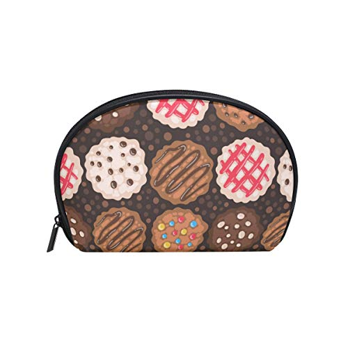 FAJRO Chocolate Chip Cookies Pattern small cosmetic makeup bag