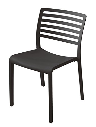 Mission Stack Chair (Table in a Bag LAGBLK Plastic Modern Dining Chair, Black (Pack of 4))