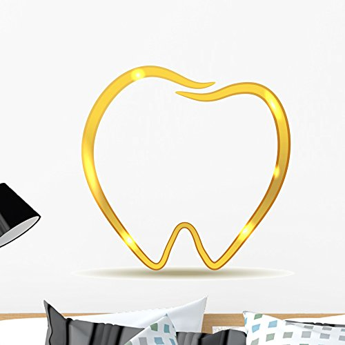 (Wallmonkeys Golden Tooth Design Luxury Dental Care Wall Decal Peel and Stick Graphic WM270272 (24 in H x 23 in W) )