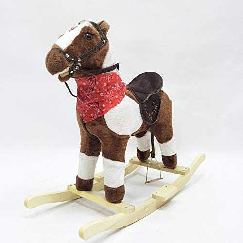 Happy Island Little Pony Foal Giddy Up Ride On Horse Walking Simulated No Battery No Electricity Mechanical Horse for 3-8 Years (Dark Brown) ()
