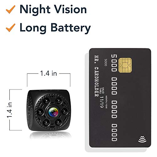 Mini Spy Camera Timeqid - Portable with and Without WiFi Hidden Camera Night Vision 170° Wide Angle Battery Rechargeable Motion Detection HD Video