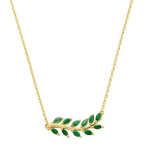 - 1 ct Natural Emerald Leaf Garland Necklace in 10K Gold