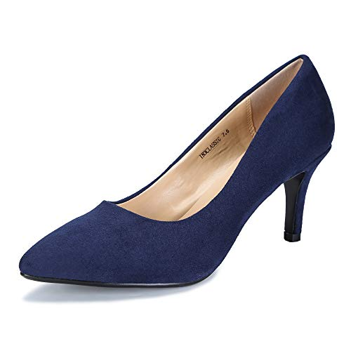 (IDIFU Women's IN3 Classic Slip On Pointed Toe Mid Heel Dress Pump (Blue Suede, 9 B(M) US))