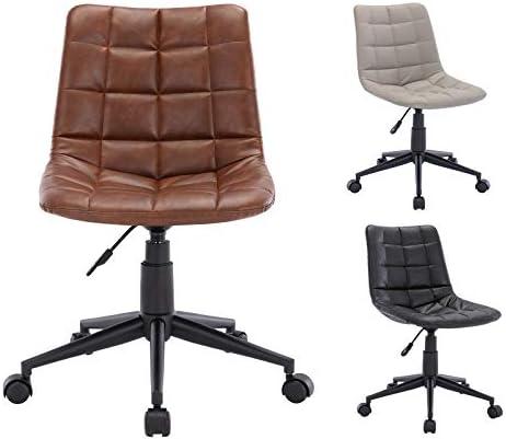Guyou PU Leather Armless Office Chair Adjustable Swivel Desk Study Chair Task Chair