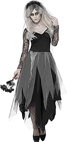 Ladies Sexy Scary Corpse Dead Bride Halloween Horror Fancy Dress Costume Outfit Sizes 8-22 ((UK 16-18)