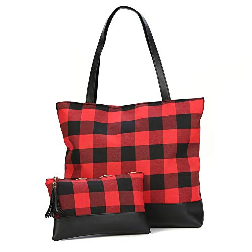 Womens Red Buffalo Plaid Tote Bag Buffalo Check Everyday Lightweight Shoulder Bag & Make Up Bag Set (Black)