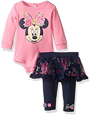 Baby Girls' 2-Piece Minnie Mouse Skegging Chiffon Set