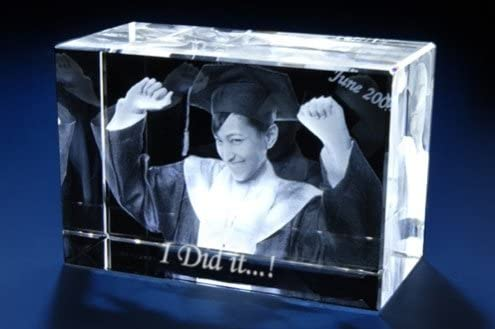 Personalized Custom 2D//3D Holographic Photo Etched Engraved Inside The Crystal with Your Own Picture XXL Birthday, Wedding Gift, Memorial, Mothers Day,Valentines,Christmas