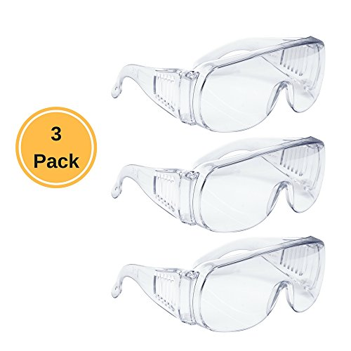 AMSTON Safety Glasses (3-pack), ANSI Z87+ Standards, Eyewear Personal Protective Equipment / PPE for Construction, DIY, Home Projects & Lab - Curved Sunglasses Prescription
