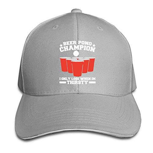 Baseball Cap Adult Beer Pong Champ Drinking Game Party Sandwich Cap Dad Casquette Hat Cap Gray ()