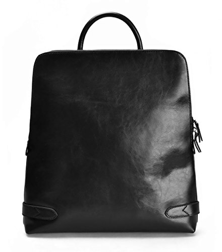 ZLYC Fashion Split Leather 15.6'' Laptop Backpack Handbag Tote Messenger Bag Black by ZLYC