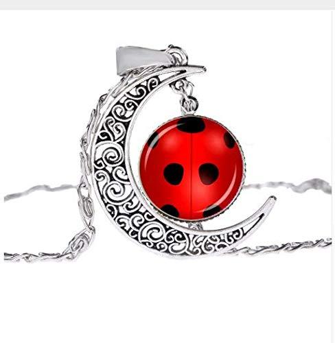 Miraculous Ladybug Necklace,Moon Necklace,Vintage Glass Gem Family Parent-Child Kids Jewelry