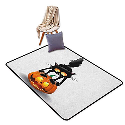 Girl Room Children's Room Kindergarten Decoration Rug Halloween Black Cat on Pumpkin Drawing Spooky Cartoon Characters Halloween Humor Art Children's Rug W5'xL8' -
