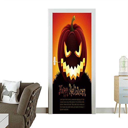Homesonne Door Decals Halloween with Pumpkin on Sky Background.Check My Portfolio for Raster Version. Pressure Resistant W36 x H79 INCH ()