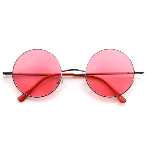 zeroUV - Lennon Style Round Circle Metal Sunglasses w/ Color Lens Tint (Silver - Sunglasses John Lennon Red