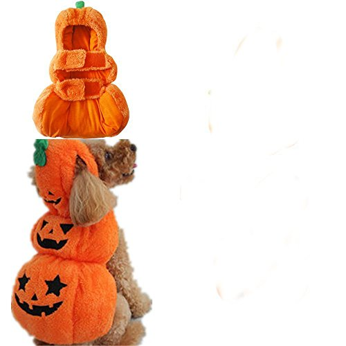 [JoyeArt Cute Hooded Pet Dog Cat Halloween Costume with Two Jack-o'lantern Candy Bags Funny Apparel Orange Pumpkin Dog Costume Dog Cat Clothes Fall& Winter (XX-Large)] (20 Cat Costumes)