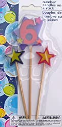 Number Birthday Cake Candles / Toppers / Decorations / Kit / 3 Piece Set / # 6