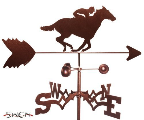 Outdoor Mount Post Horse (Hand Made RACE HORSE AND JOCKEY FLAT POST Mount Weathervane ~NEW~ by SWEN Products)
