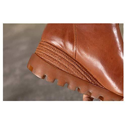 Fermeture Haut Compensées Vintage éclair Femme De Chaussures pour Matteblack ZPEDY Gamme Casual Chaussures en Cuir Chaussures wzxvqxY6a