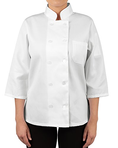 KNG Womens White Classic ¾ Sleeve Chef Coat, S by KNG (Image #7)