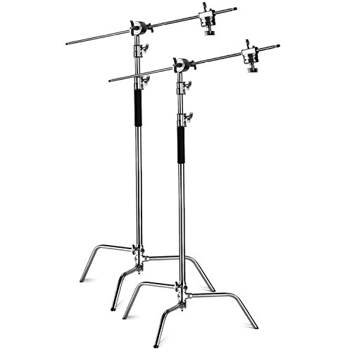 (Neewer 2 Pieces Heavy Duty Max Height 10 feet/3 meters Adjustable Light Stand with 4 feet/1.2 meters Holding Arm and Grip Head Kit for Studio Video Reflector,Monolight and Other Photographic Equipment )