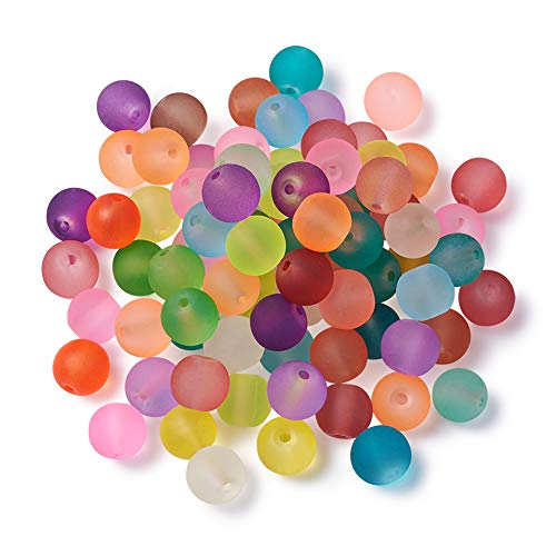 Craftdady 500Pcs 8mm Random Mixed Colors Transparent Round Frosted Crystal Glass Beads Unpolished Matte Round Ball Loose Spacer Beads for Jewelry Making with 1mm Hole - Glass Bead Ball Bracelet
