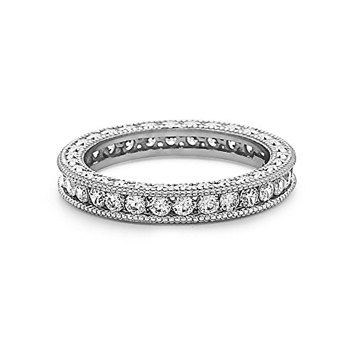 Crush & Fancy Filigree Crystal Eternity Band | 925 Sterling Silver Stackable Eternity Ring | Size 6, 7, 8 (White Tone - JORDAN, ()