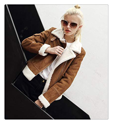 Msanlixian New Faux Shearling Sheepskin Coats Women Thick Suede Jackets Women Autumn Winter Lambs Wool Short Motorcycle Coats UV3001 Brown-White Collar M