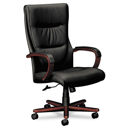 basyx by HON HVL844 Executive Chair for Office or Computer Desk, Mahogany Frame, Black Leather