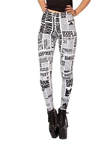 DAHUA Women's Designed Digital Print Newspaper Pattern Sexy Stretch - Pattern Digital