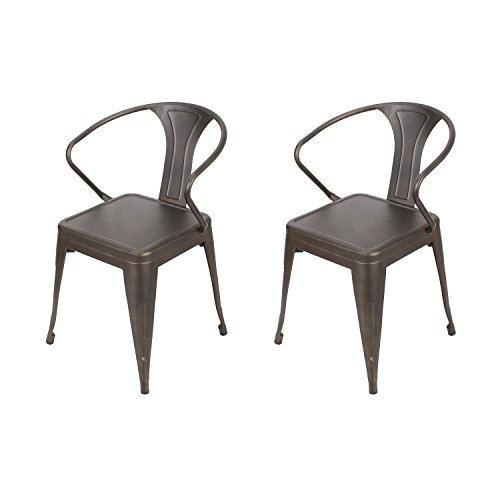 Adeco Industrial Chic Style Metal Stackable Cruve Armrest Chairs, For Cafe, Pub, Bistro, Outdoor Indoor, Tan Bronze, Set of 2