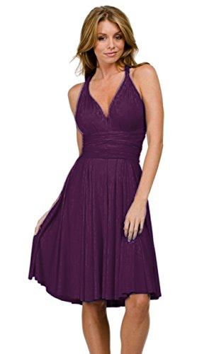 Vivian's Fashions Dress - Twist Wrap, 8 Ways to Wear (Purple, Plus Size)
