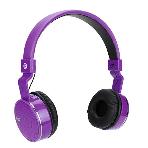 (fosa Wireless Bluetooth On-Ear Headset Portable FM Audio Music Display Headphone Hand-Free Rechargeable Stereo Audio Earphone for Kids Adults Students(Purple))