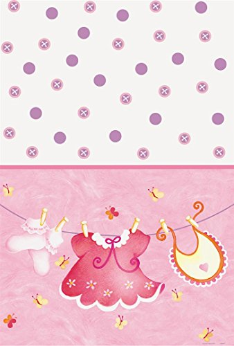 Pink Clothesline Girl Baby Shower Plastic Tablecloth, 84