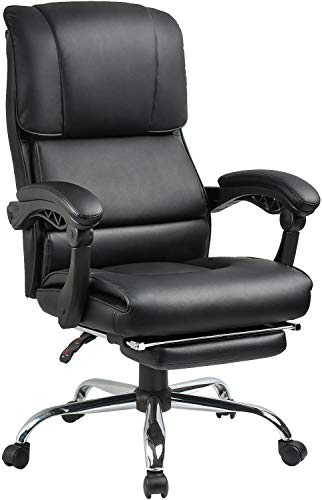 Big and Tall 400 Lbs Executive Office Desk Chair Computer Chair High Back PU with Lumbar Support Headrest Footrest Swivel Chair for Women Men Adults,Black