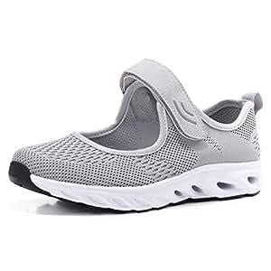 BEESCLOVER Summer Breathable Women Sneakers Healthy Walking Shoes Outdoor Mesh Antislip Sport Running Shoes Mother Gift Comfort Light Flats Black 5