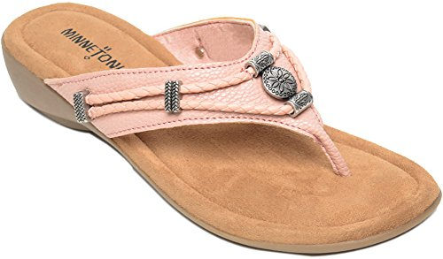 Minnetonka Womens Silverthorne Thong Sandal, Blush Pebbled PU, 7 B(M) US