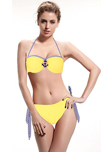 Allezola Women's Adjustable Halter Bikini Swimsuit Bathing Suit Swimwear Navy Style Yellow XS