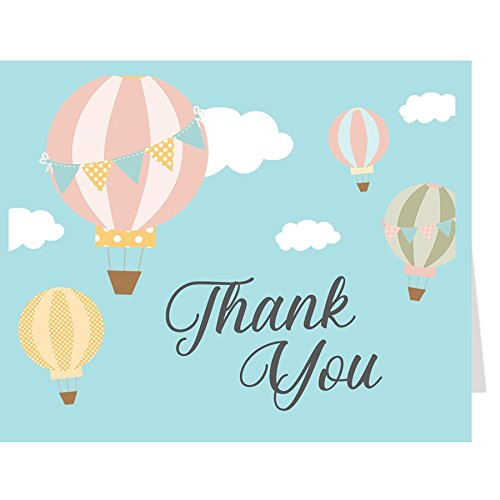 Thank You Cards, Baby Shower Thank You Cards, Hot Air Balloon Baby Shower, Sky Blue, Yellow, Grey, Gray, Pink, Green, Brown, Clouds, Polka Dots, Stripes, Set of 50 Folding Notes with Envelopes