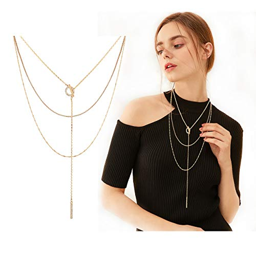 - Seni Triple Layered Chain Necklace Rhinestone Bar Pendant Necklave Open Circle Y Choker Necklace (Gold)