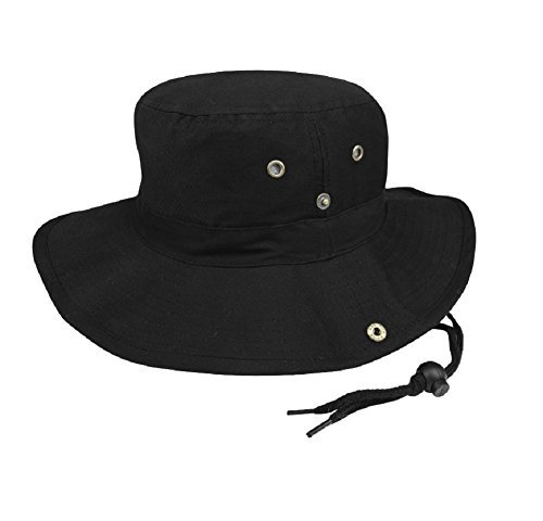 Cotton Chin Cord - MG Mens Brushed Cotton Twill Aussie Side Snap Chin Cord Hat (Black, Large)