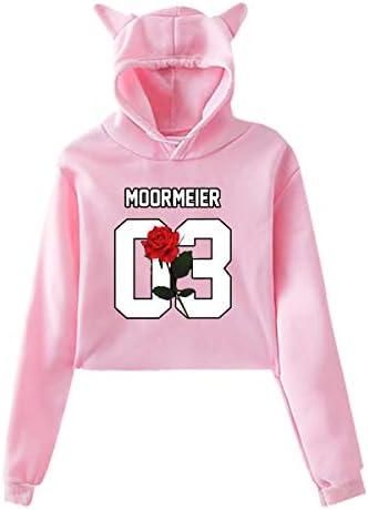 ZLZL Payton Moormeier Women`s Cropped Sweater Black Children Teen Cat Ear Hoodie Sweater