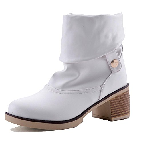 on Boots Low White WeiPoot Material Soft top Round Women's Closed Kitten Pull Toe Heels qnABI